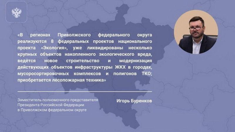 Игорь Буренков: «8 из 9 федеральных проектов нацпроекта «Экология» реализуются в регионах Приволжья»